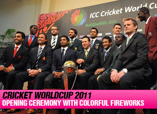 Cricket Worldcup 2011 Opening Ceremony with Colorful Fireworks