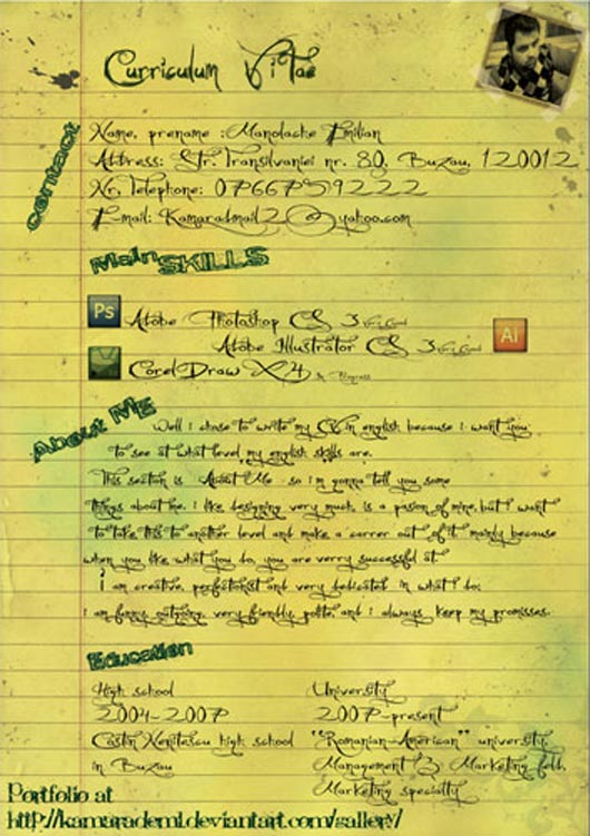 Notebook page resume