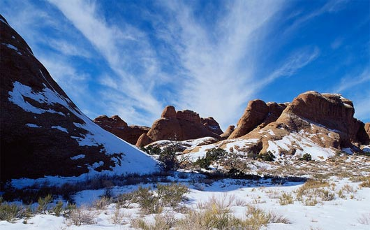 Snow in Arches National Park
