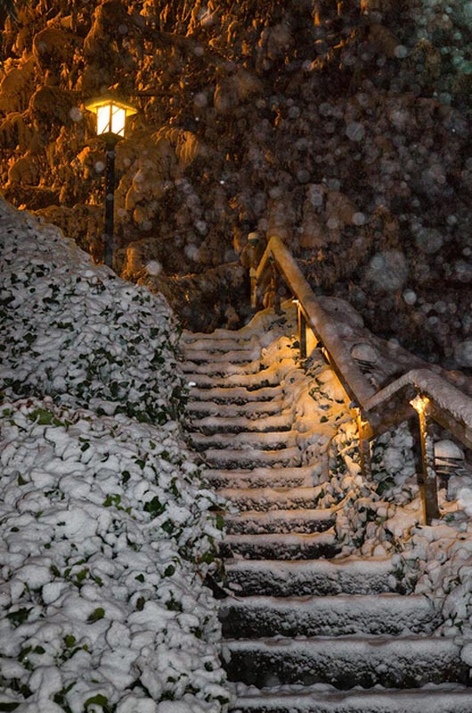 Winter Snowfall at Night on a Stairway