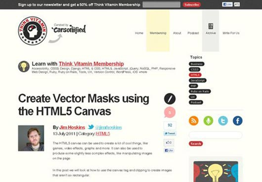 Create Vector Masks using the HTML5 Canvas