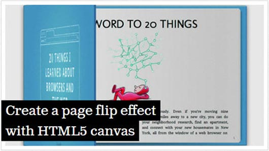 Create a page flip effect with HTML5 canvas