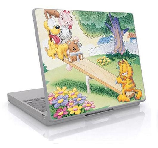 Garfield and Friends Having Fun on a Seesaw - on Your Laptop!
