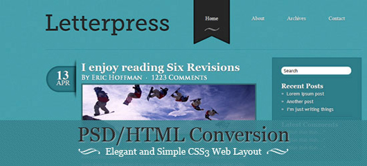 PSD/HTML Conversion: Elegant and Simple CSS3 Web Layout