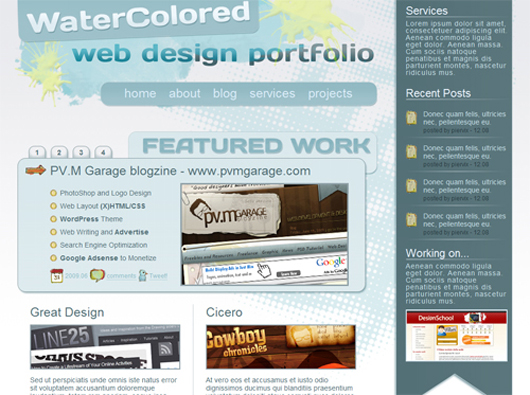 WaterColored Portfolio Coded, Free CSS Template With PSD to HTML Tutorial (UPDATED)