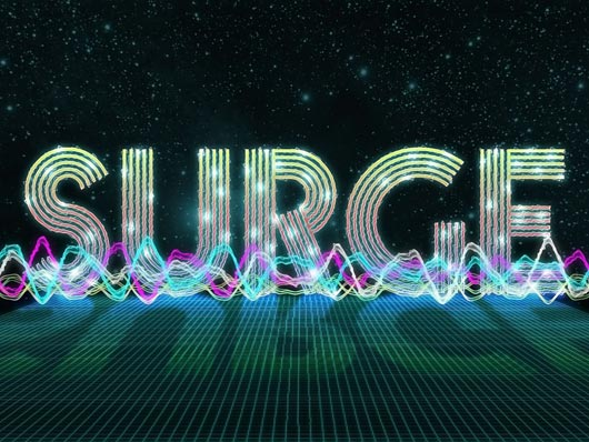 Create a colorful surging electric wave text effect in Photoshop