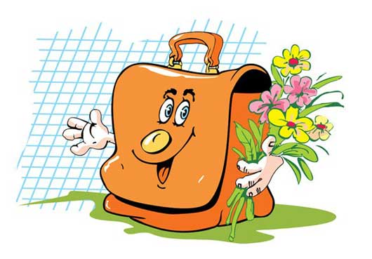 Cartoon Vector Bag with Face and Hands