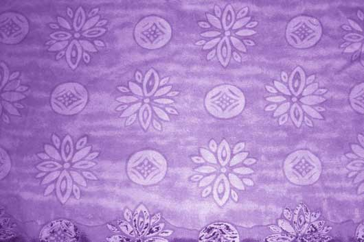 Purple Fabric Texture with Flowers and Circles
