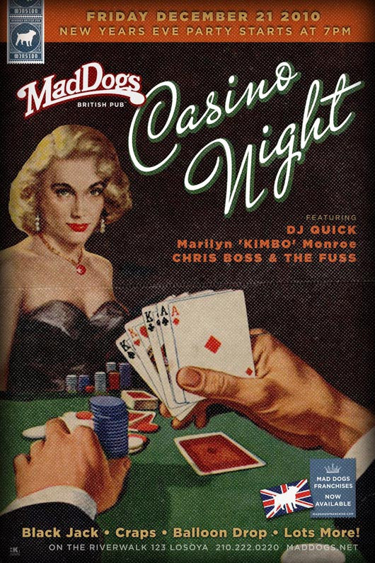 Mad Dogs Pub Casino Night New Years Eve Poster