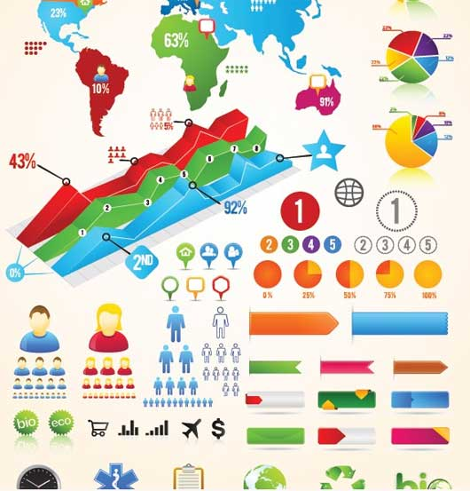 Colorful Vector Infographic Chart Buttons Labels