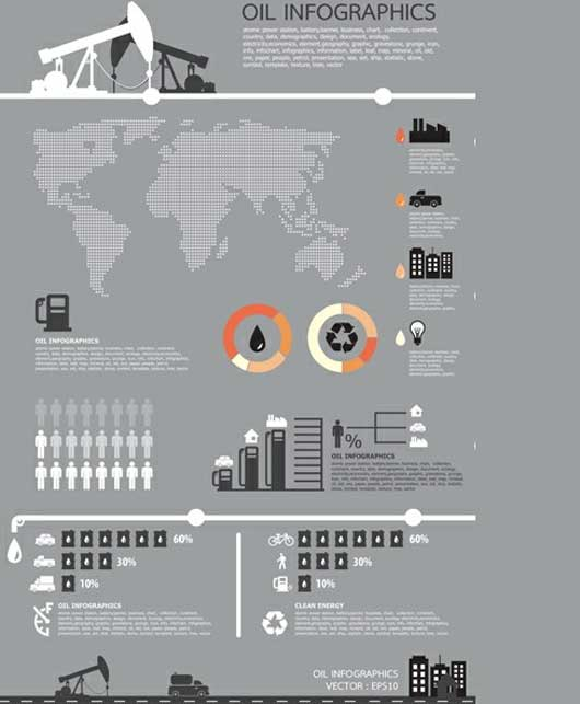 Oil Theme Business Infographics Vector