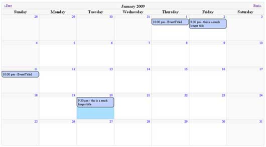 jQuery Full Month Calendar Plugin Supports Events