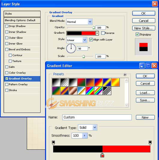 Layer style from the bottom of layers palette