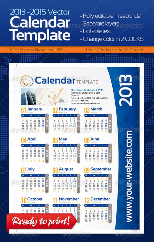 2013, 2014 and 2015 Calendar Template