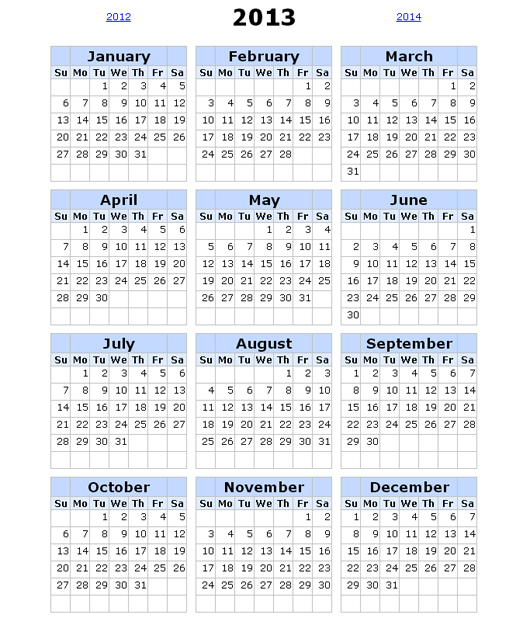 2013 Calendar with Holidays Online