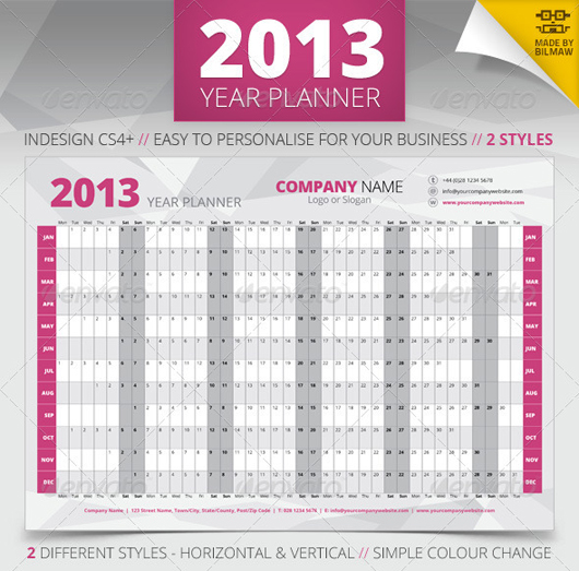 2013 Year Wall Planner