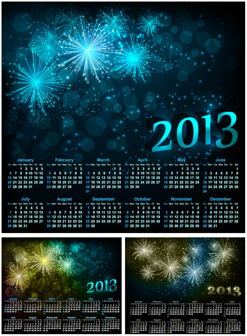 2013 calendars with stars vector