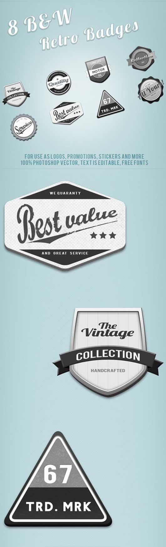 Black and White Retro Web Badges