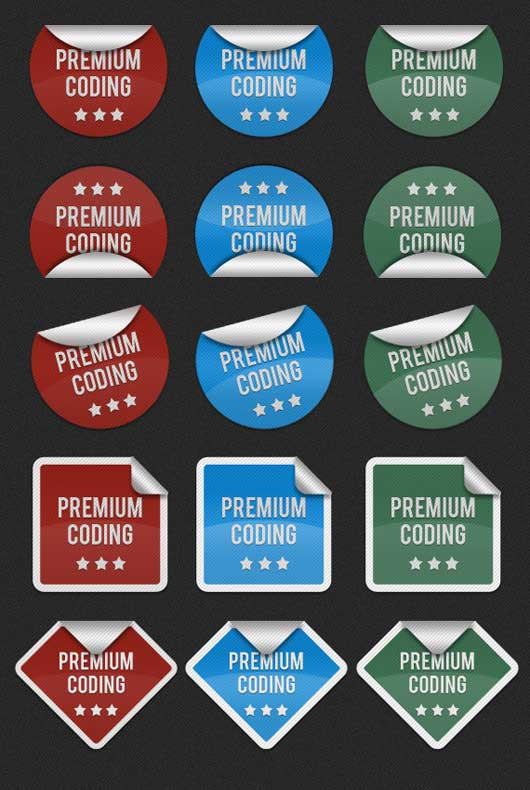 Six sets of Fancy Stickers (PSD)