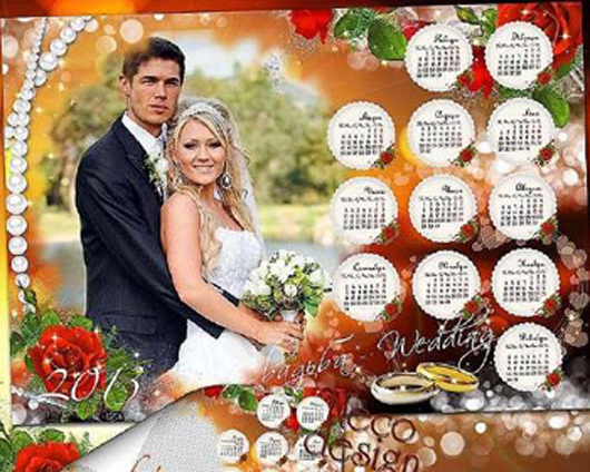 Wedding Calendar And Photo Frame With Red Roses