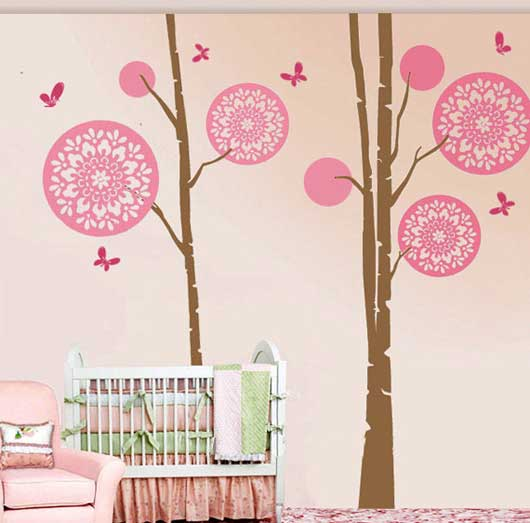 Circular Flower Tree With Butterfly Wall Sticker