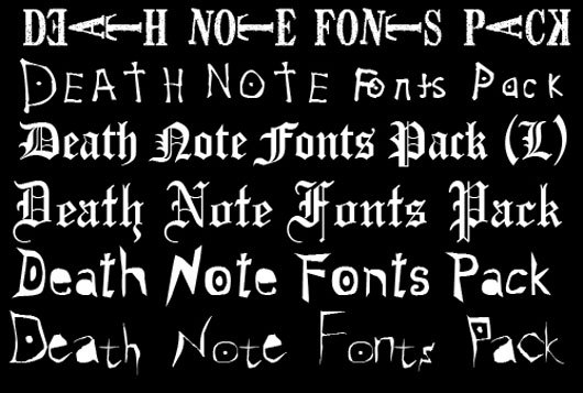 Death Note Fonts Pack