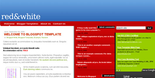 Red.White Blogspot Template