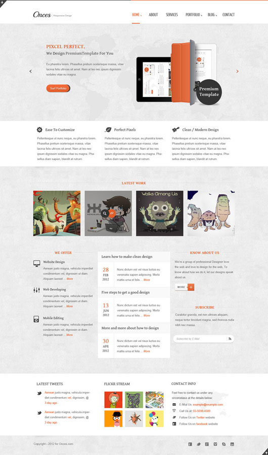 Onces Clean Responsive Html5 And Css3 Template