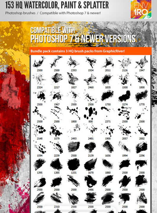 153 Watercolor Paint, Splatter Photoshop Brushes