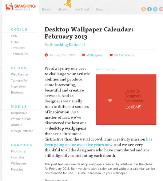 Desktop Wallpaper Calendar: February 2013