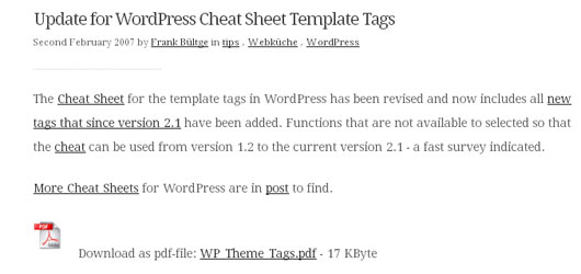 Update for WordPress Cheat Sheet Template Tags
