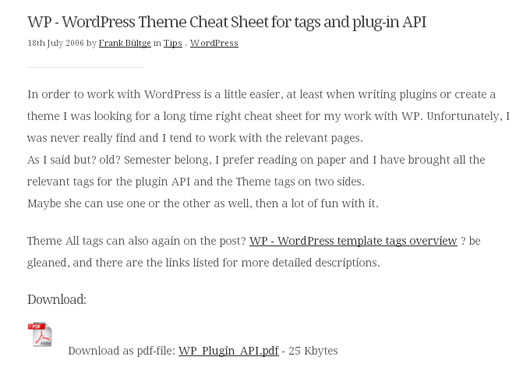 WP - WordPress Theme Cheat Sheet for tags and plug-in API
