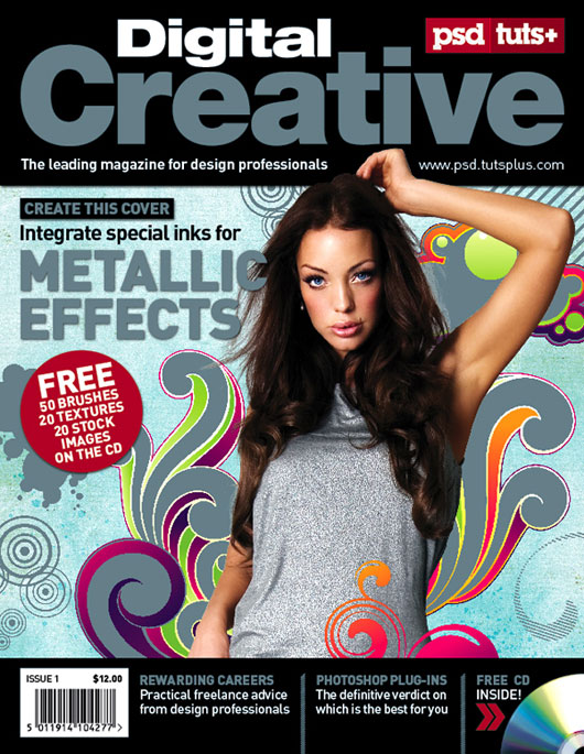 Create a Five color Magazine Cover using a Spot Metallic