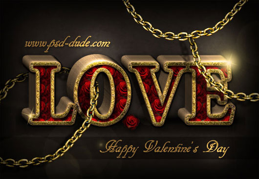 Love Roses Text in Photoshop for Valentine Day