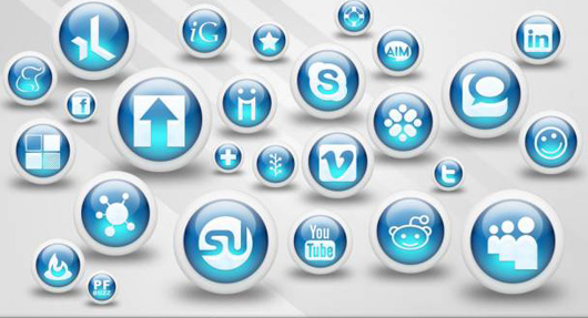 Glossy Blue Orbs Social Networking Icons Below