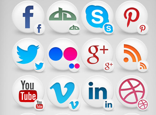 Social Media Icons Set for mouse icons