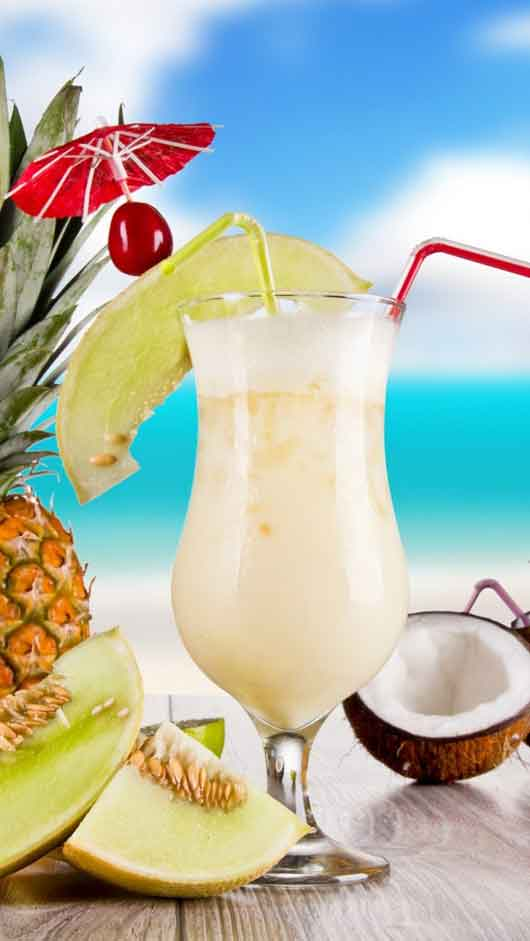 Summer cocktail glass coconut pineapple coconut