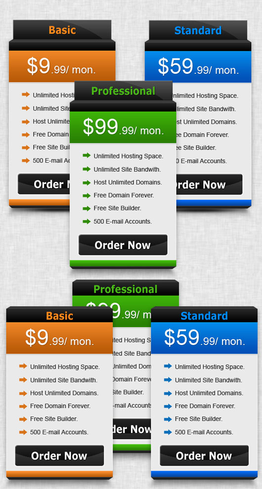 Semi 3d pricing table