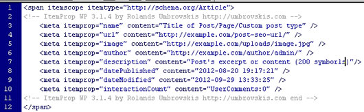 itemprop WP for SERP/SEO Rich snippets