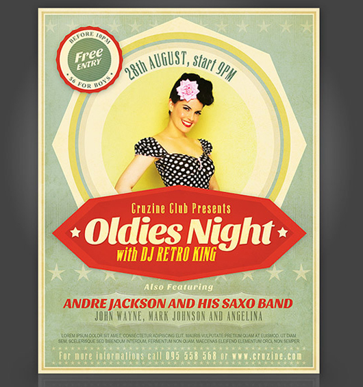 Oldies Night Party Flyer