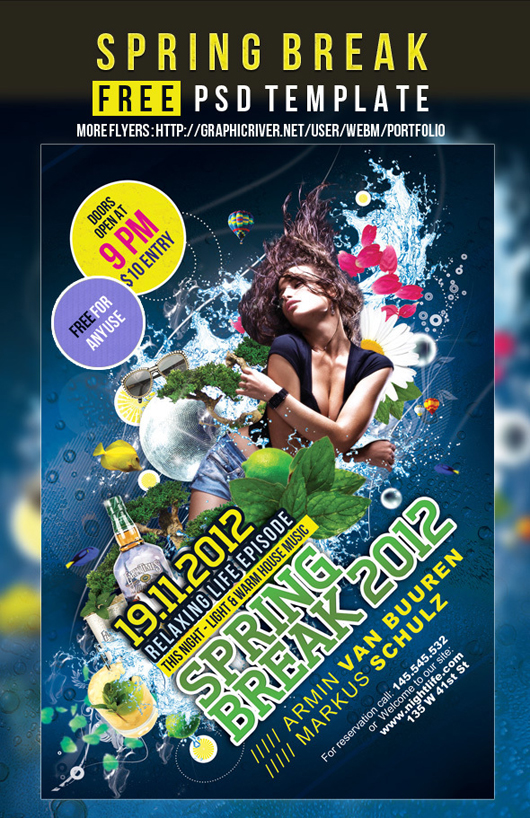 Spring Break - Free Flyer Party PSD template
