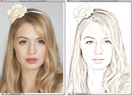 Portrait Photo To Color Sketch With Photoshop