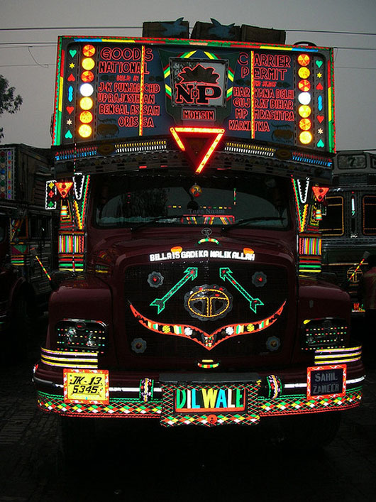 Punjab Trucks in the Evening. Painted ladies of the highway