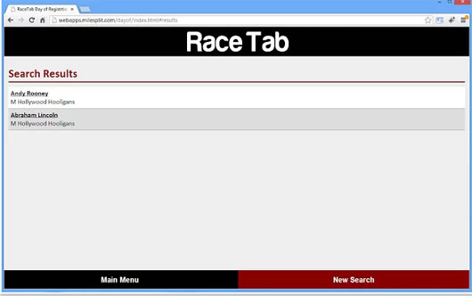 RaceTab Day of Entry