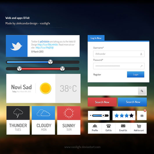 Web and App UI Kit PSD Included