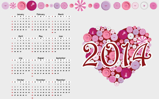 2014 New Year Calendar Download Free