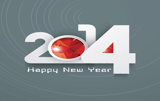 3D Wallpaper of New Year 2014