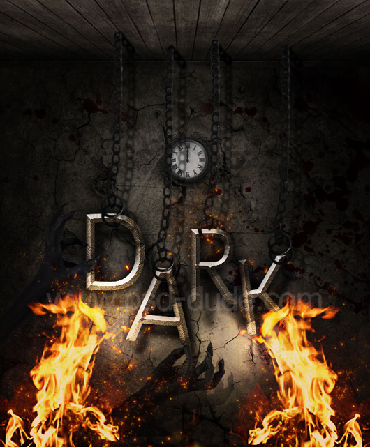 Dark Gothic Text with Fire Effects in Photoshop
