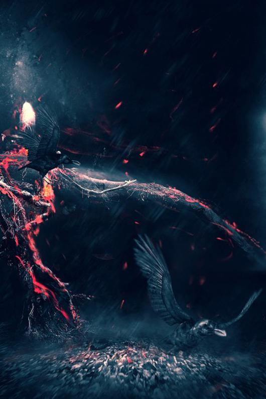 Create a Surreal Burning Tree Scene with Falling Particle Effect in Photoshop