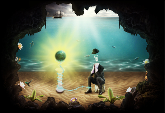 How to Create a Surreal Scene with an Invisible Man Inside a Mystic Cave